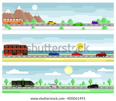 set of banners car travel flat