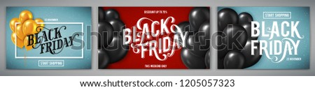 Set of banners for Black Friday Sale with handdrawn lettering. Poster template. Vector illustration.