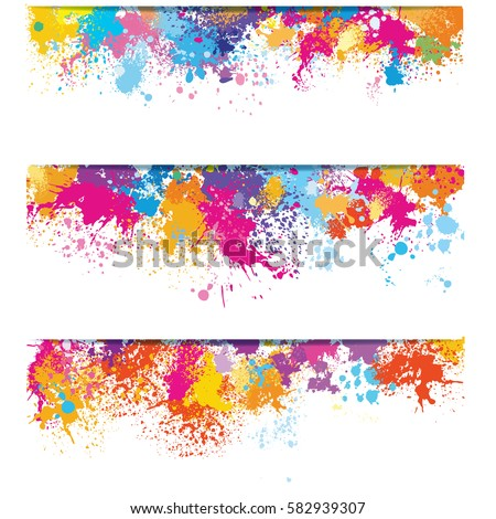 set of banners from color paint