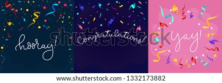 Set of banners in flat style with confetti and lettering. Congratulations design template with ribbons in flat style. Hooray lettering with decorative elements. Vector greeting banners set.