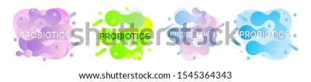 Set of banners of probiotics and bacterial fluid. Lactobacillus logo with text. Amorphous symbols for milk products are shown such as yogurt, acidophilus. Abstract background vector for poster, flyer.