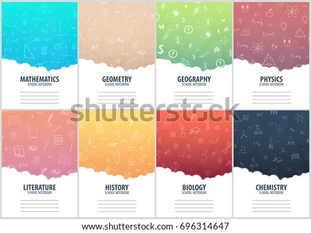set of banners school notebook
