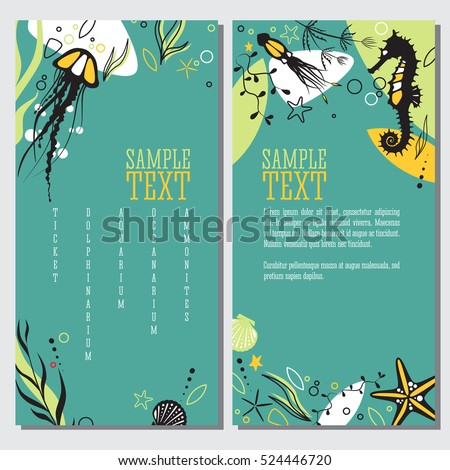 set of banners sea life and
