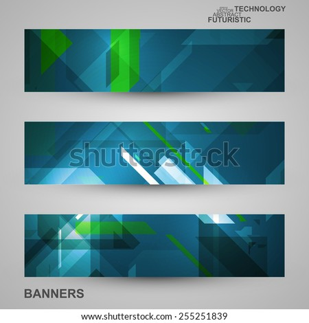 Set of banners, technology art illustration, vector eps10 #255251839
