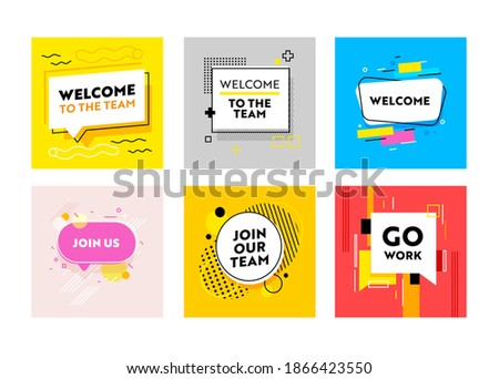 Set of Banners Welcome and Join Our Team with Abstract Trendy Pattern. Headhunting and Human Resource Research, Sociability, Digital Concept for Teamwork and Job Recruiting. Vector Illustration