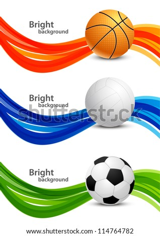 Set of banners with balls