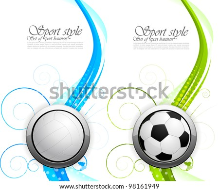 Set of banners with balls and waves