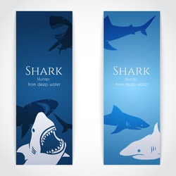 Set of banners with big sharks. Vector Illustration