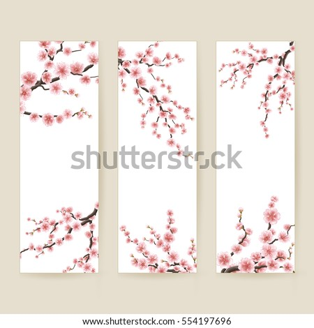 set of banners with blossom