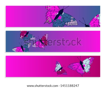 set of banners with butterflies