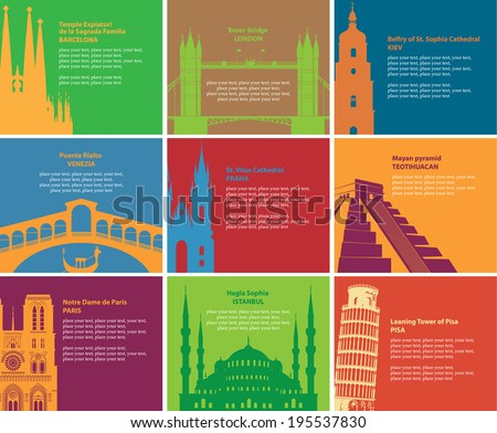 Set of banners with different historical sites