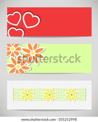 set of banners with flowers and card with hearts