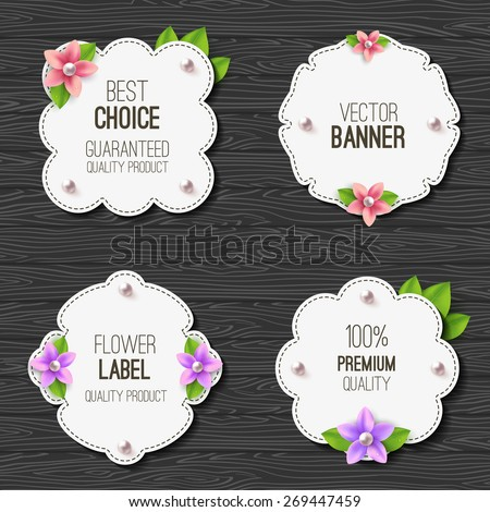 Set of banners with flowers, pearls and leaves. Spring or summer design. Vector label