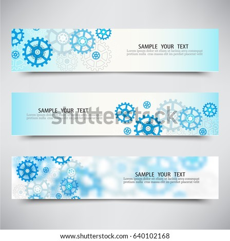 set of banners with gears
