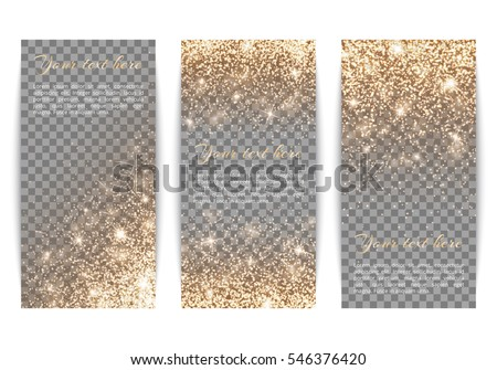 Set of banners with gold glitter on a transparent background