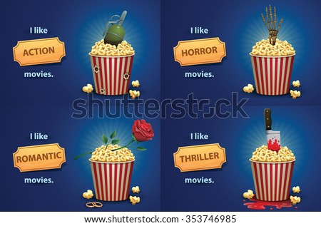 set of banners with popcorn