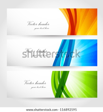 Set of banners with rays and lines. Abstract illustration