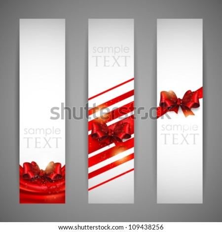 set of banners with red bows and ribbons