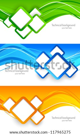 Set of banners with squares. Abstract illustration