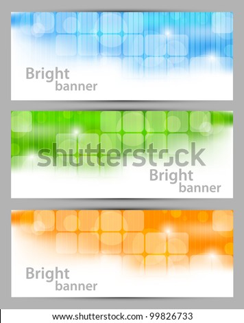 set of banners with squares and