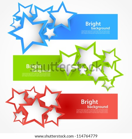 set of banners with stars
