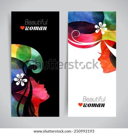 set of banners with watercolor