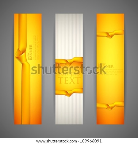set of banners with yellow ribbons