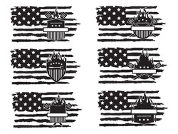 Set of barbecue american flag of the grill master. Collection of the shield emblem on fire with barbecue accessories paw, lard, tongs. Vector illustration for food establishments. Chef logo.
