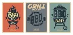 Set of barbecue posters. BBQ time. Barbecue party. Vintage poster.