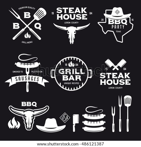 set of barbecue steak house...