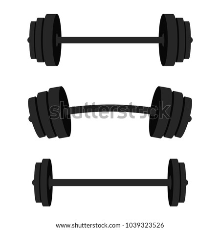 Set of barbells. Black barbells for gym, fitness and athletic centre. Weightlifting and bodybuilding equipment. Vector