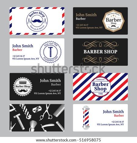 Set of barber shop business card on black and white background. Template barber shop business card vector illustration