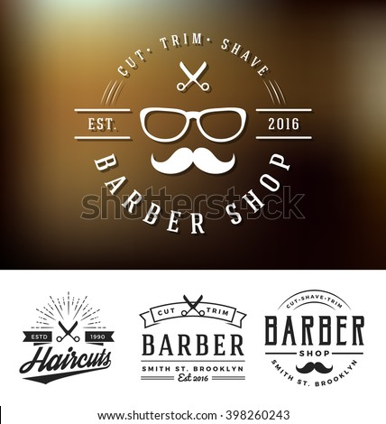 Set of barber shop logo and decorative sticker design. Retro vintage insignia logotype for barber shop. Vector illustration