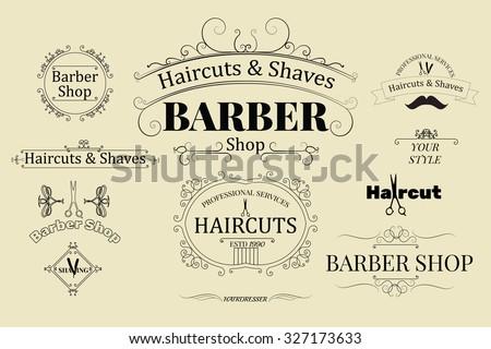 set of barber shop logos ...