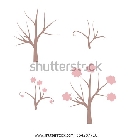 set of bare tree  blooming tree