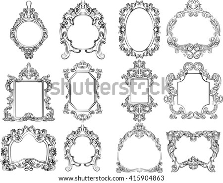Set of Baroque Vintage Decoration Frames. Flourishes Royal Rich Ornaments and Frames. Retro Style Collection for Cards, Invitations, Banner, Poster, Badges, Logotypes, Photos, Placards