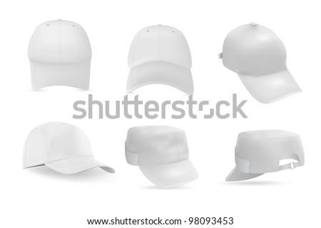 Set of baseball and military white caps templates.