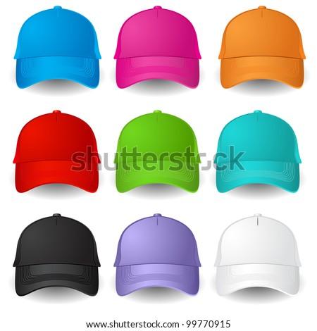 Set of Baseball caps. Illustration on white background
