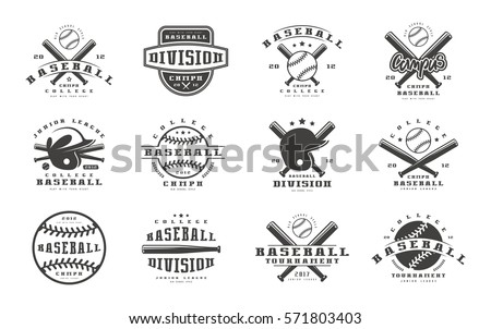 Set of baseball emblems. Graphic design for t-shirt