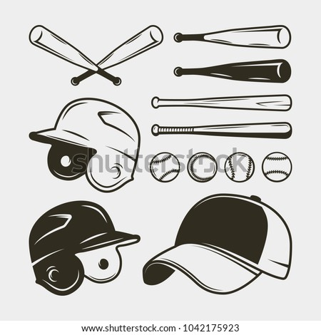 set of baseball equipment and gear. bat, helmet, cap, balls. sport design elements for logotypes and emblems. vector illustration