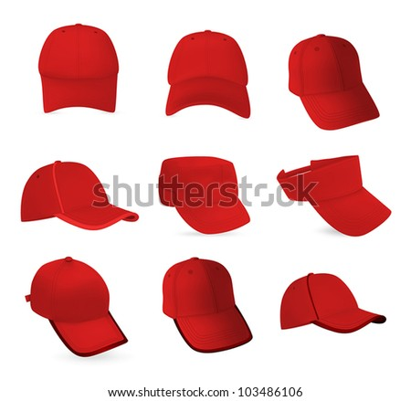 Set of baseball hats templates.