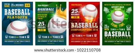 Set of baseball posters with baseball ball. Baseball competition game advertising. Sport event announcement. Place your text and emblems of participants. Vector illustration.