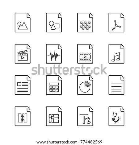 Set of basic file extension icon with visual symbol. Line Art style popular  file extension for user interface, software and web development.