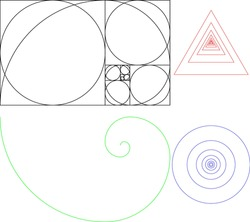 Set of basic geometric figures with Golden Fibonacci sequence applied. Useful in creation of more advanced projects.