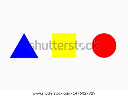 Set of basic shape / basic element of fine art. Circle, square, triangle.
