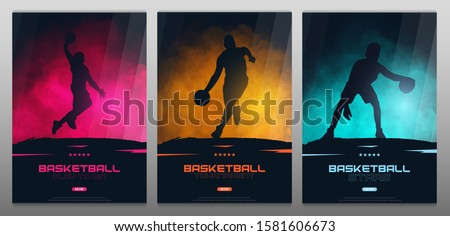 Set of Basketball banners with players. Modern sports posters design