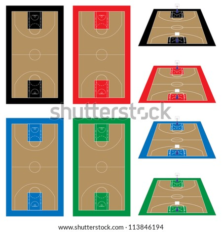 Set of Basketball Courts in Different Colours