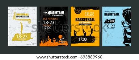 set of basketball designs hand
