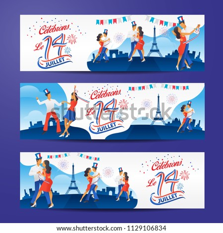 set of bastile day banners with