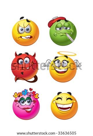 set of batch emotions smiles